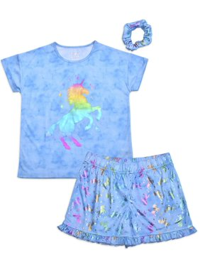 Sleep On It Girls Short Sleeve & Shorts 2-Piece Pajama Set with Matching Hair Scrunchie Sizes 7-16