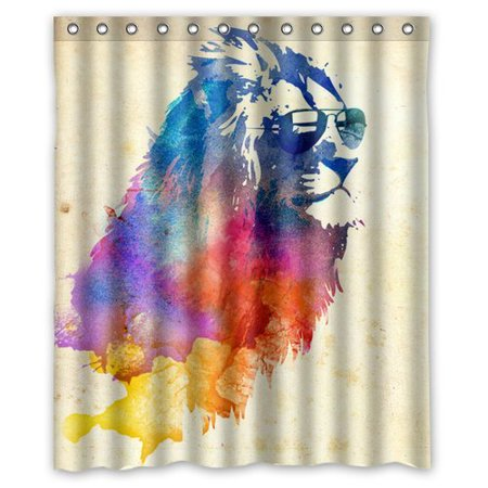EREHome Paint Splash Lion Shower Curtain Polyester Fabric Bathroom Decorative Curtain Size 60x72 Inches - image 1 of 1