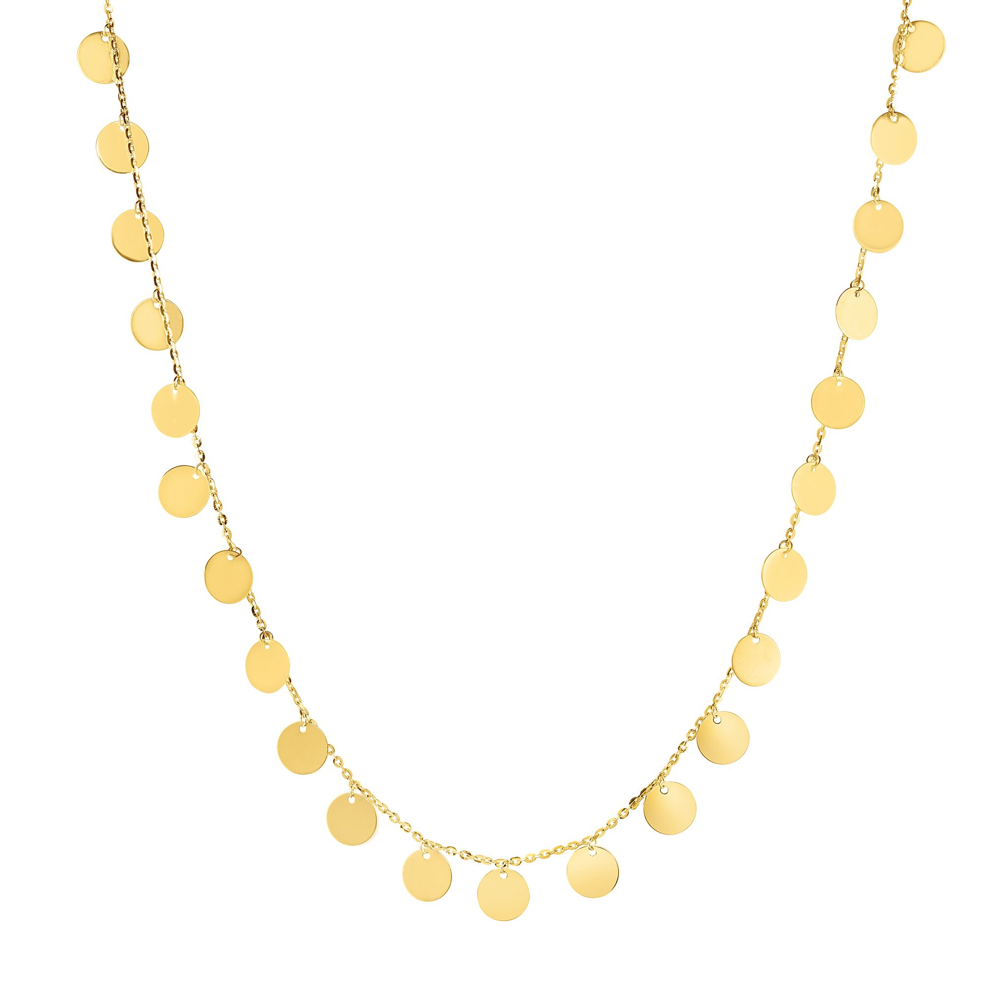 """14k Shiny Yellow Gold Flat Round Discs Choker Necklace, Lobster Clasp 14-16"""" by JewelStop"""