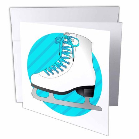 3dRose Figure Skating Gifts - Blue Ice Skate on Stripes, Greeting Cards, 6 x 6 inches, set of 12 - Ice Skating Figure