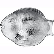 """Pasabahce 10258, 14.25""""x10.5'' Large Glass Dinner Fish Plate, Unique Design Serving Platter Dish, Fish Shape Textured Glass Serving Dish, Food Tray, Party Platter for Fish, Sushi, Fruit or Cheese"""