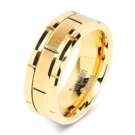 8mm Men's Tungsten Ring Wedding Band 14k Gold Brush Center & Grooves Size 6-16 Flat Grooved Wedding Ring