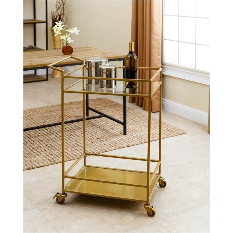 Bowery Hill Kitchen Cart in Gold