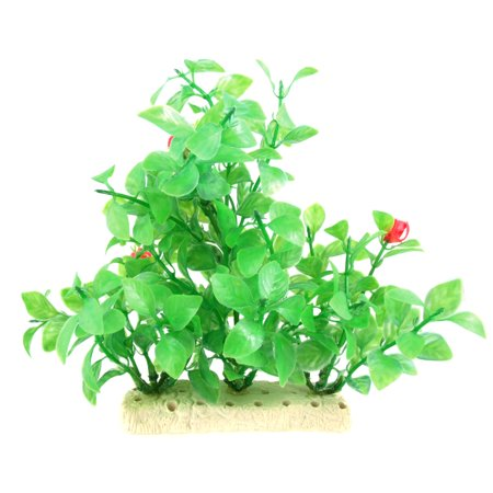 Fish Tank Decorative Green Plastic Plant w Red Flowers - image 1 de 1