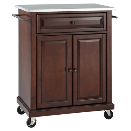 Bowery Hill Stainless Steel Top Kitchen Cart in Mahogany ()