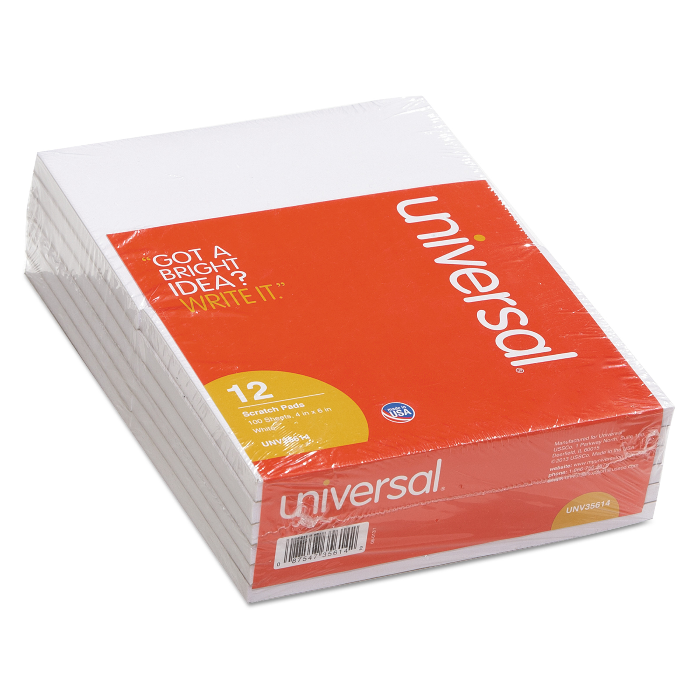 Universal Scratch Pads, Unruled, 4 x 6, White, 100 Sheet Pads, 12 pack