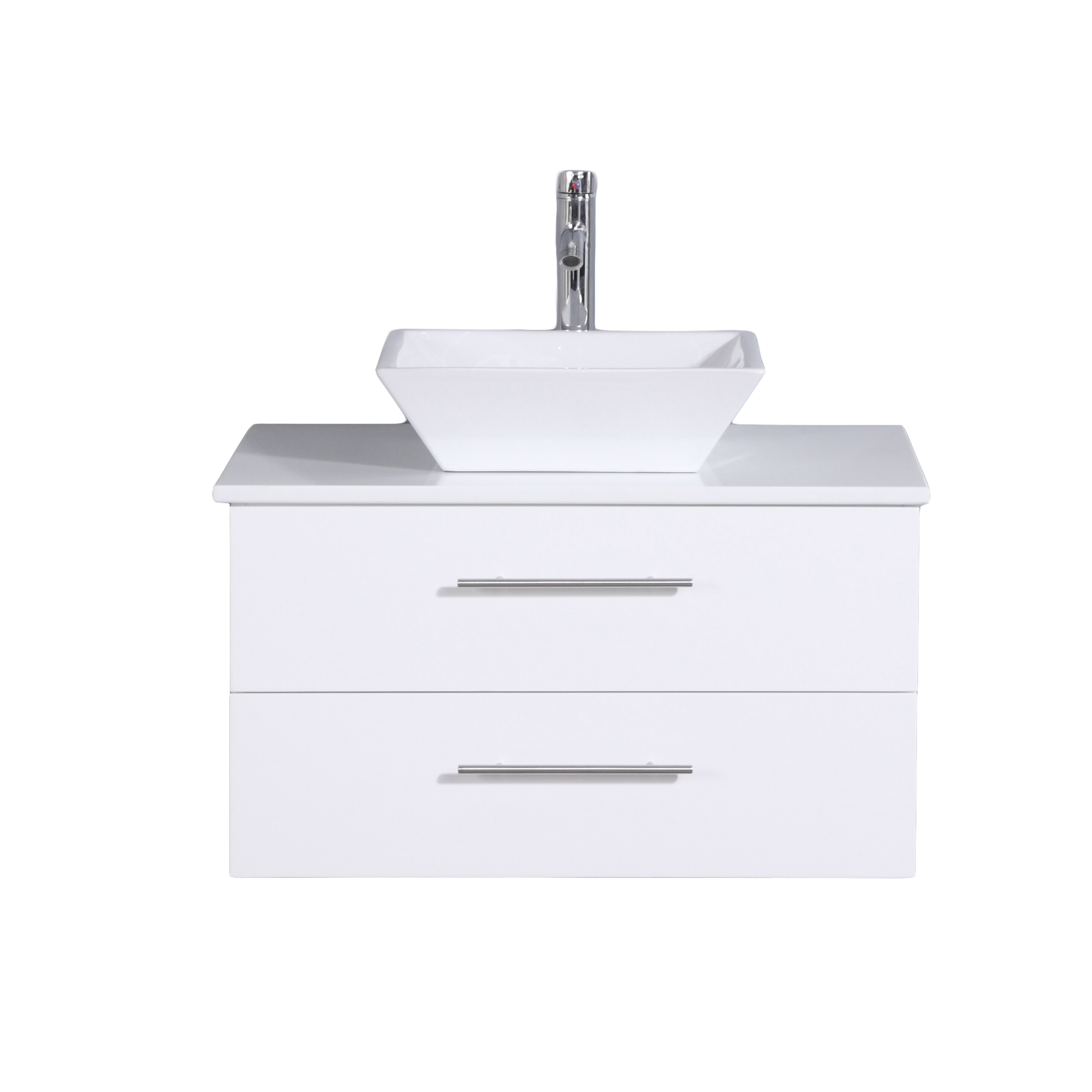 Totti Wave 24 Inch White Modern Bathroom Vanity With Counter Top And Sink Walmart Com Walmart Com