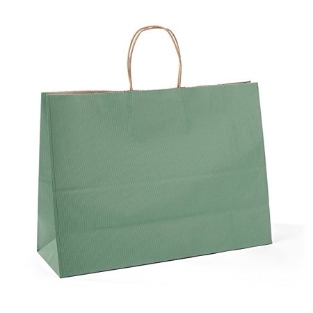 House Day Green Kraft Gift Paper Bags with Handles, Shopping Retail Bags - 16x6x12inches - Merchandise Bags - Paper Bags With Handles