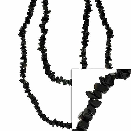 Genuine Onyx Stone Chip One Strand Layer Necklace 36""