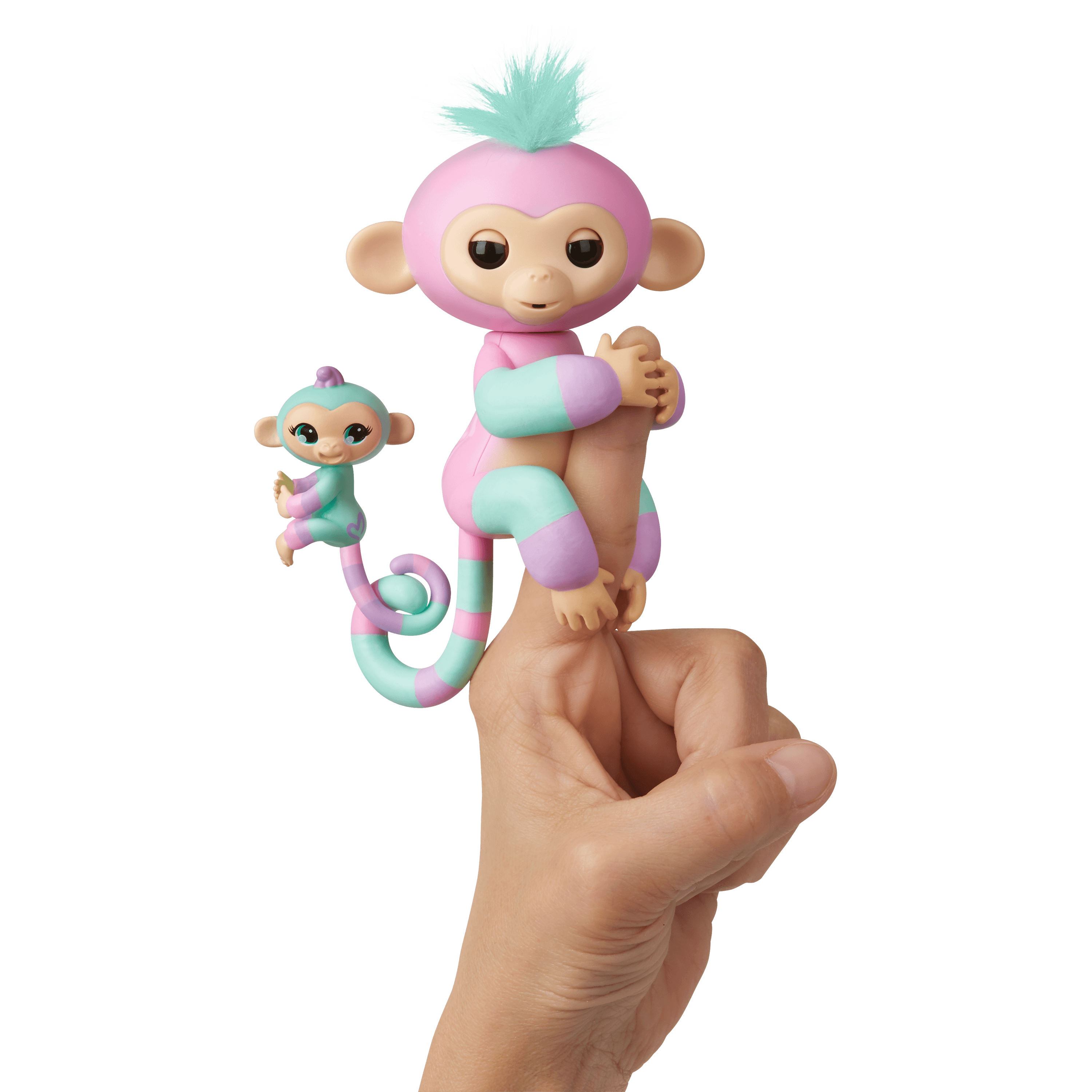 Fingerlings Baby Monkey & Mini BFFs - Ashley & Chance (Pink-Turquoise) - By WowWee