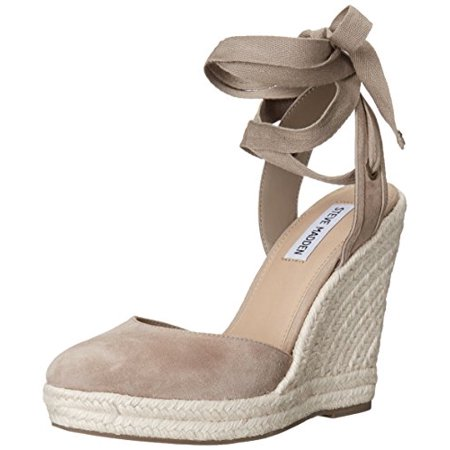 c001e5b1571 Steve Madden Women's Barre Espadrille Wedge Sandal, Taupe Suede, Size 7.0