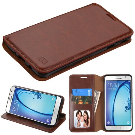 Insten Folio Leather Wallet Fabric Case with Stand & Photo Display For Samsung Galaxy On7 (2016) - Brown - image 4 of 4