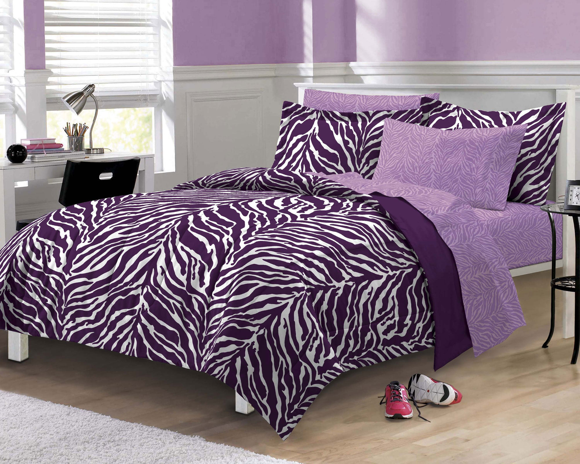 My Room Zebra Complete Bed In A Bag Bedding Set, Purple   Walmart.com