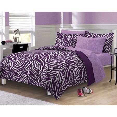 My Room Zebra Complete Bed in a Bag Bedding Set, Purple