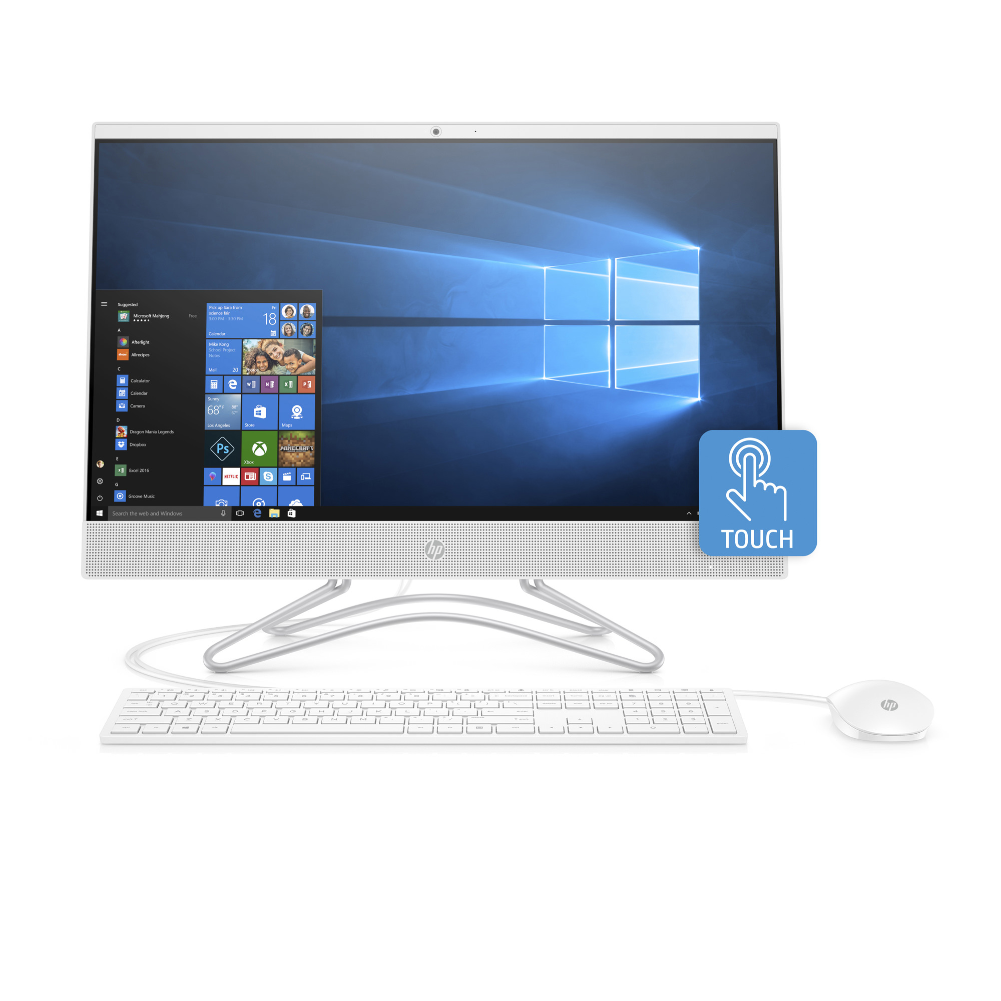 HP 24-F0040 Snow White Touch All in One PC, AMD A9-9425 Processor, 8GB Memory, 1TB Hard Drive, AMD UMA Graphics, Windows 10, DVD, Keyboard and Mouse