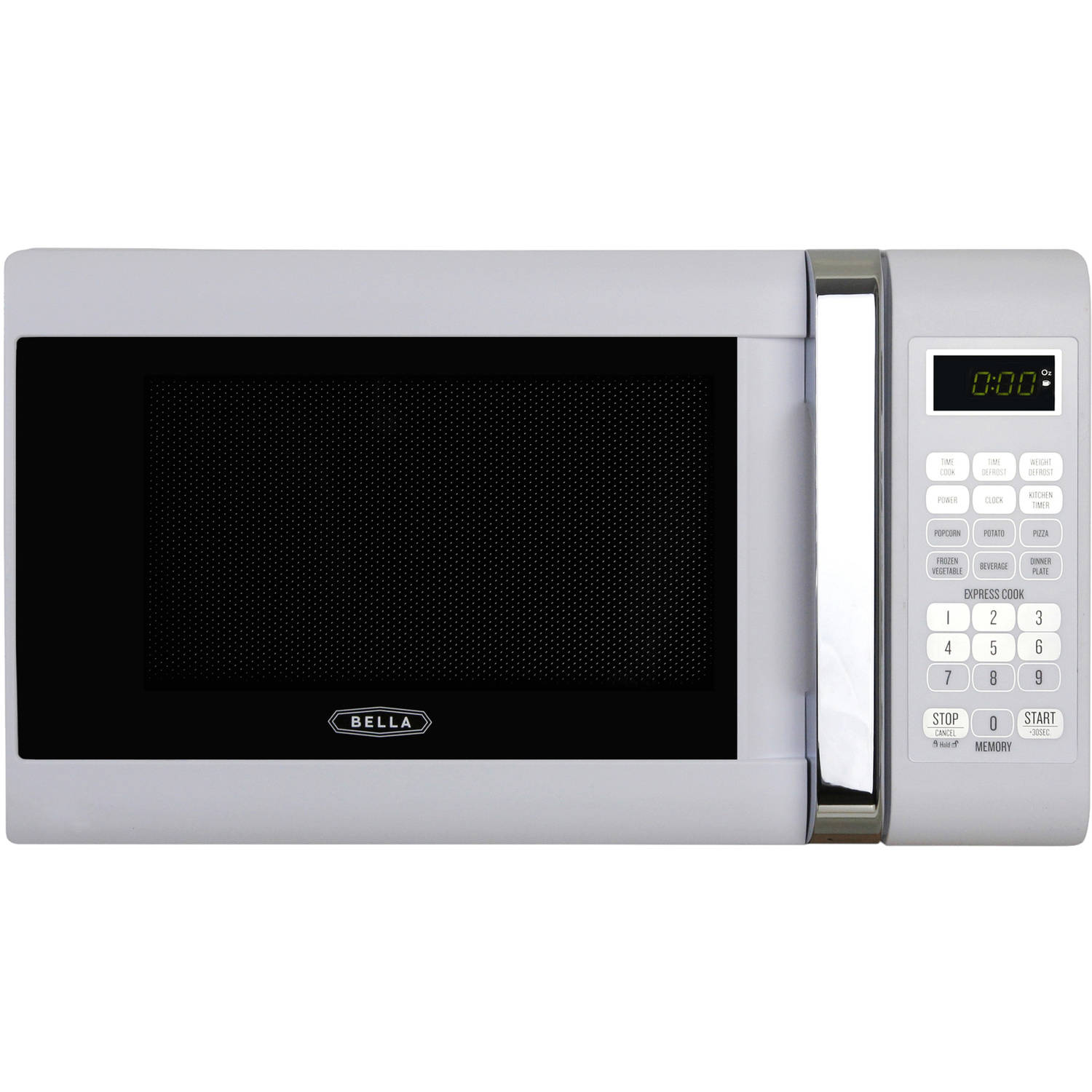 Bella .7 Cubic Foot 700 Watt Microwave Oven in White with Chrome