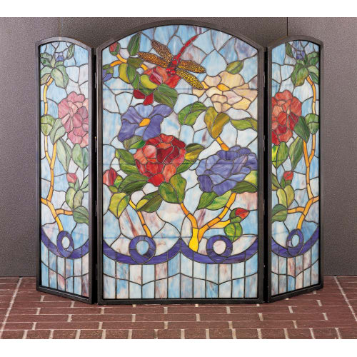 Meyda Tiffany 27234 Stained Glass   Tiffany Fireplace Screen from the Country Living Collection by Meyda Tiffany