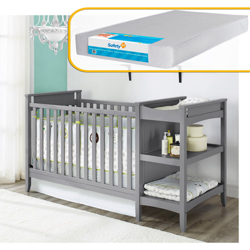 Baby Relax Emma Crib / Changer Combo and Mattress Bundle, Gray