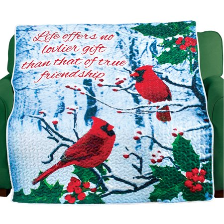 Christmas Winter Scene and Cardinal Quilted Throw with Friendship Related Saying - Holiday Accents for Home