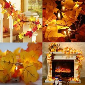 LED Fall Maple Leaves Fairy String Light Christmas Decorations Indoor Lighted Fall Garland Autumn Leaf Lamp Garland Decor Thanksgiving Decorations, 6m