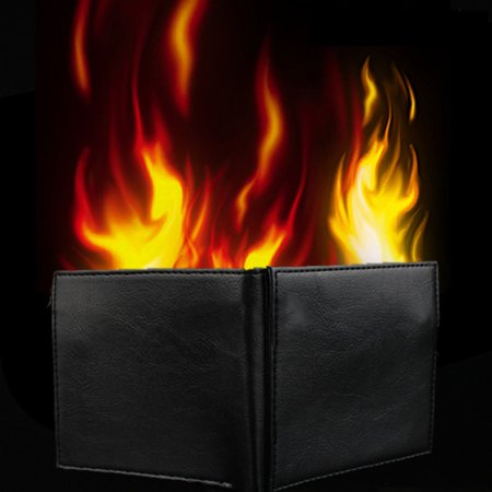 Novelty Magic Trick Flame Fire Wallet Leather Magician Stage Street Mysterious Show Storage Money Card Fun Illusion