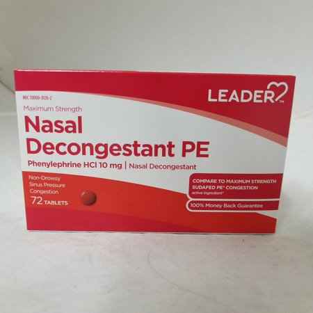 Leader Nasal Decongestant PE Tablets, 10mg, 72ct 096295129502A275