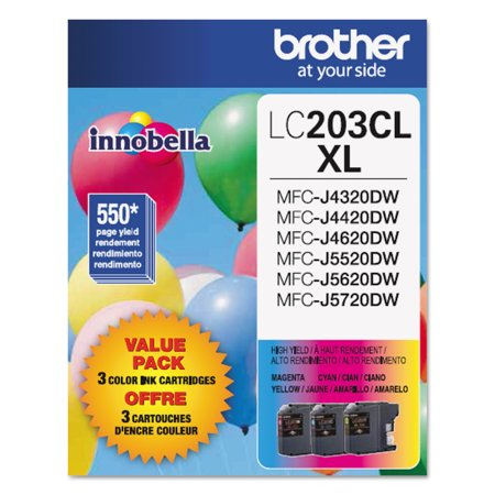 Brother Genuine High Yield Color Ink Cartridge, LC2033PKS, Replacement Color Ink Three Pack, Includes 1 Cartridge Each of Cyan, Magenta & Yellow, Page Yield Up To 550 Pages,