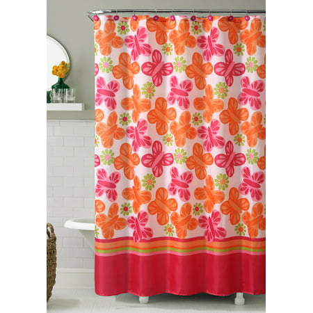 Orange And Pink Printed Fabric Shower Curtain Butterfly And Flowers 72 X 72