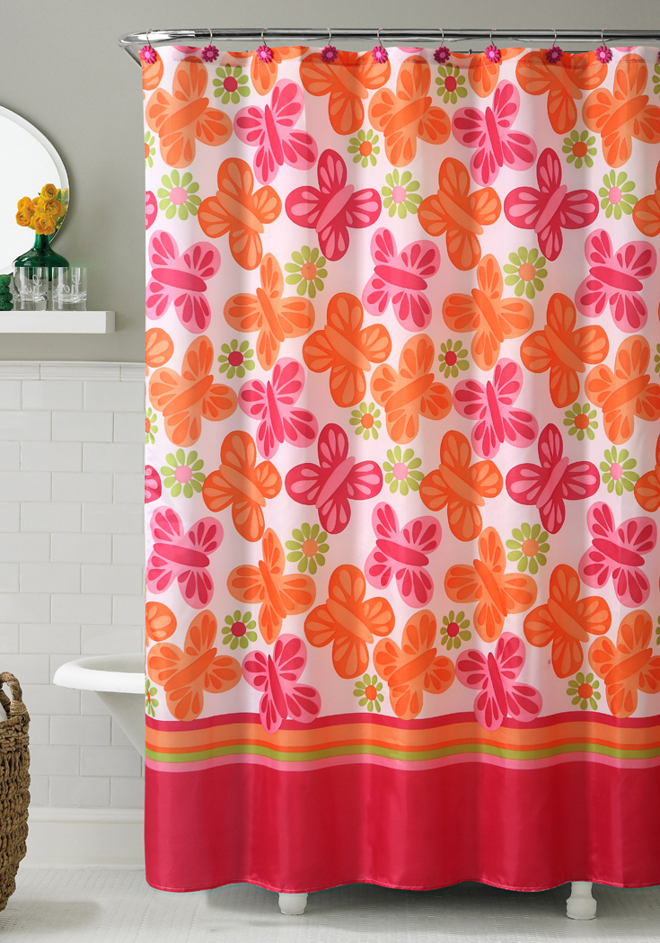 orange and pink printed fabric shower curtain butterfly and flowers