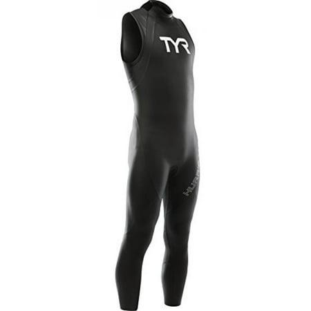 TYR SPORT Men's Hurricane Sleeveless Wetsuit Category 1, Black/White,