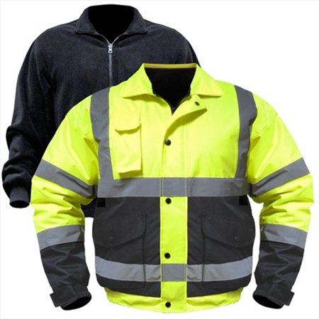 Visibility Class 3 Waterproof Jacket (Utility Pro Wear UHV563X-3X-YB High Visibility Bomber Jacket With Zip Out Liner Class 3 - 3X, Yellow)