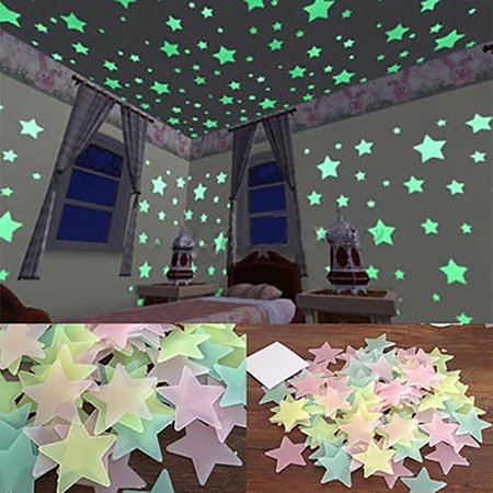 ZeAofa 100/40Pcs 3D Glow in the Dark Stars Ceiling Wall Stickers Cute Living Home Decor