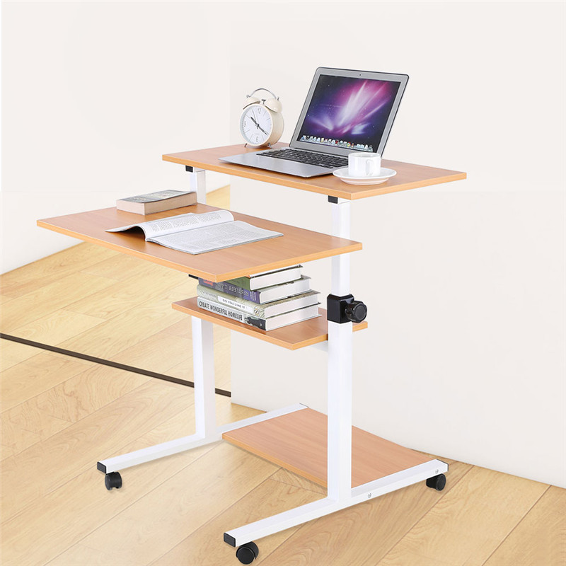 Ergonomic Mobile Stand Up Desk Computer Workstation Adjustable Height Rolling Presentation Laptop Desk Cart(Wood Color)