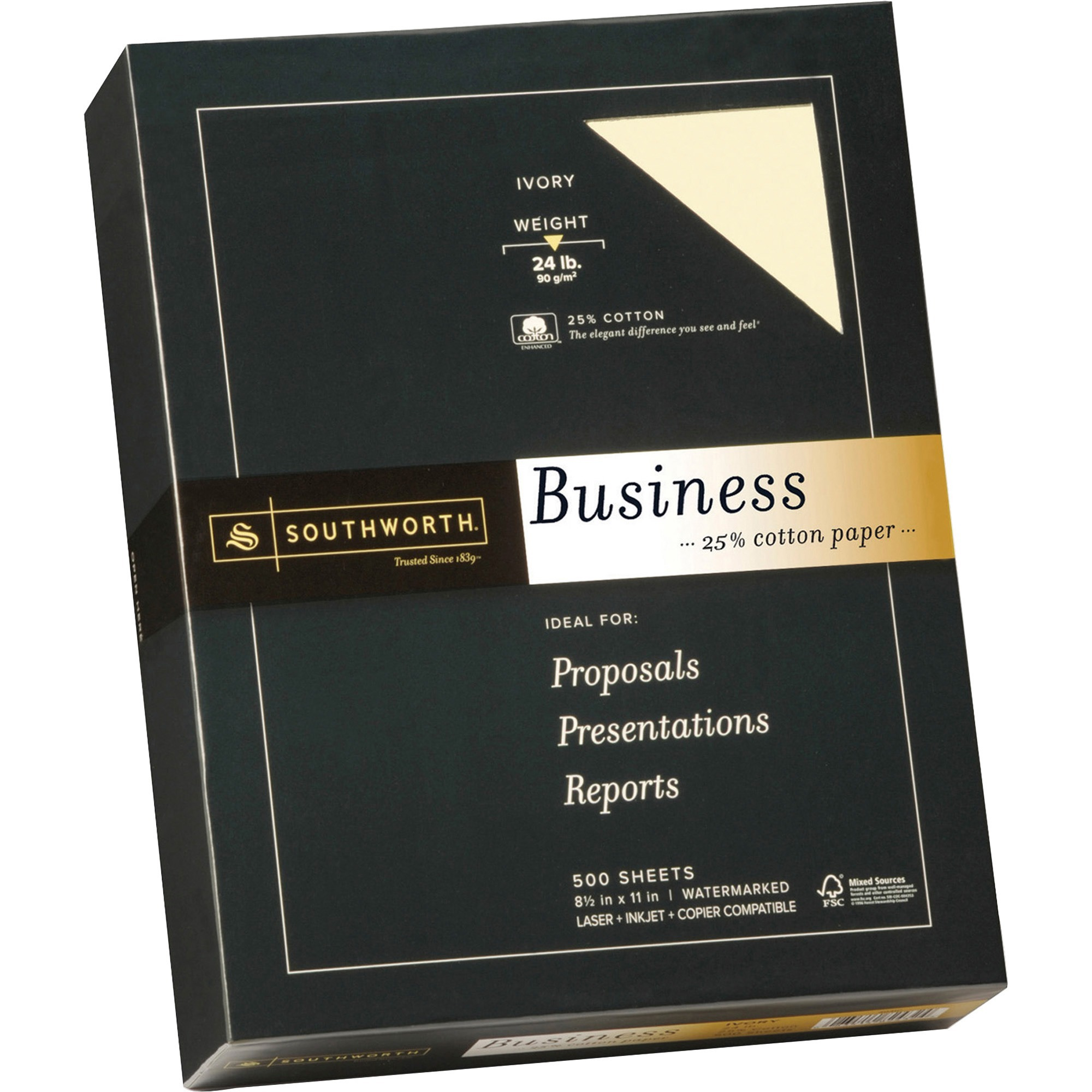 Southworth, SOU404IC, 25% Cotton Business Paper, 500 / Box, Ivory
