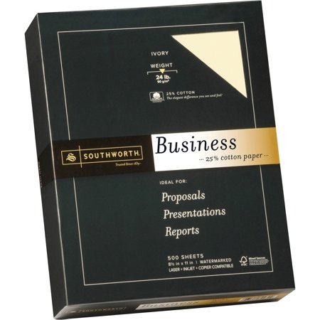 - Southworth, SOU404IC, 25% Cotton Business Paper, 500 / Box, Ivory