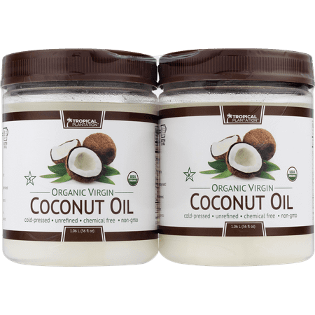 (2 Pack) Tropical Plantation Organic Coconut Oil, 72 (Tropical Traditions Coconut Oil)