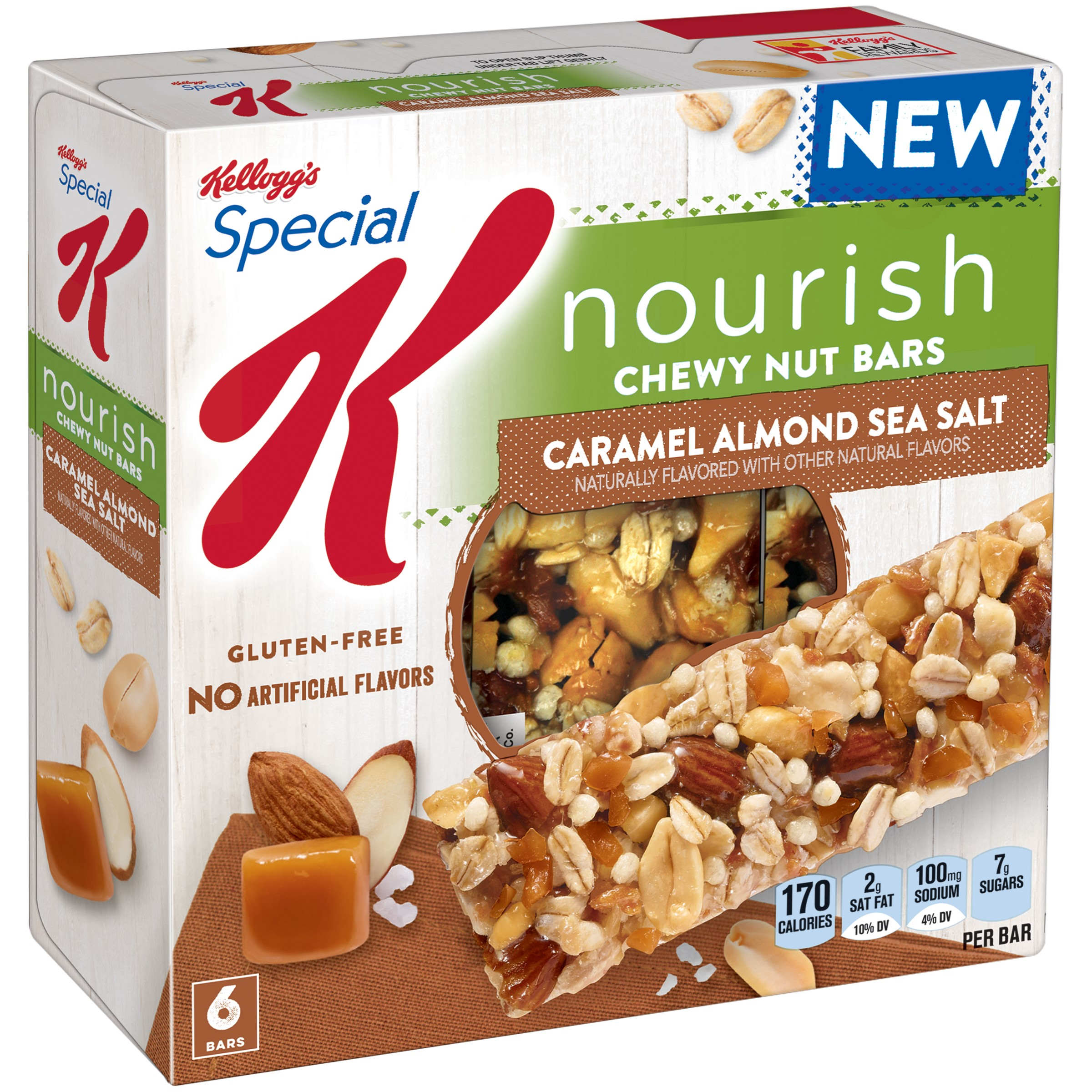 Special K Nourish Chewy Nut Bars, Caramel Almond Sea Salt, 6 Ct