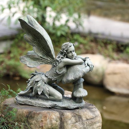 Napco Green Fairy on Mushroom Garden Statue