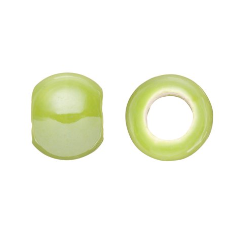 Tube Licorice Ceramic Bead Fits 10x8mm Licorice Leather Apple Green Glazed Finished