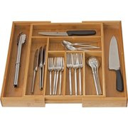 Bamboo Expandable Cutlery Drawer, Use for Utensil Organizer, Flatware Dividers, Drawer Tray Organizer