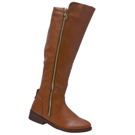 Weeboo Adult Brown Side Zipper Closure Tall Hi-Low Trendy - Tall Brown Boots