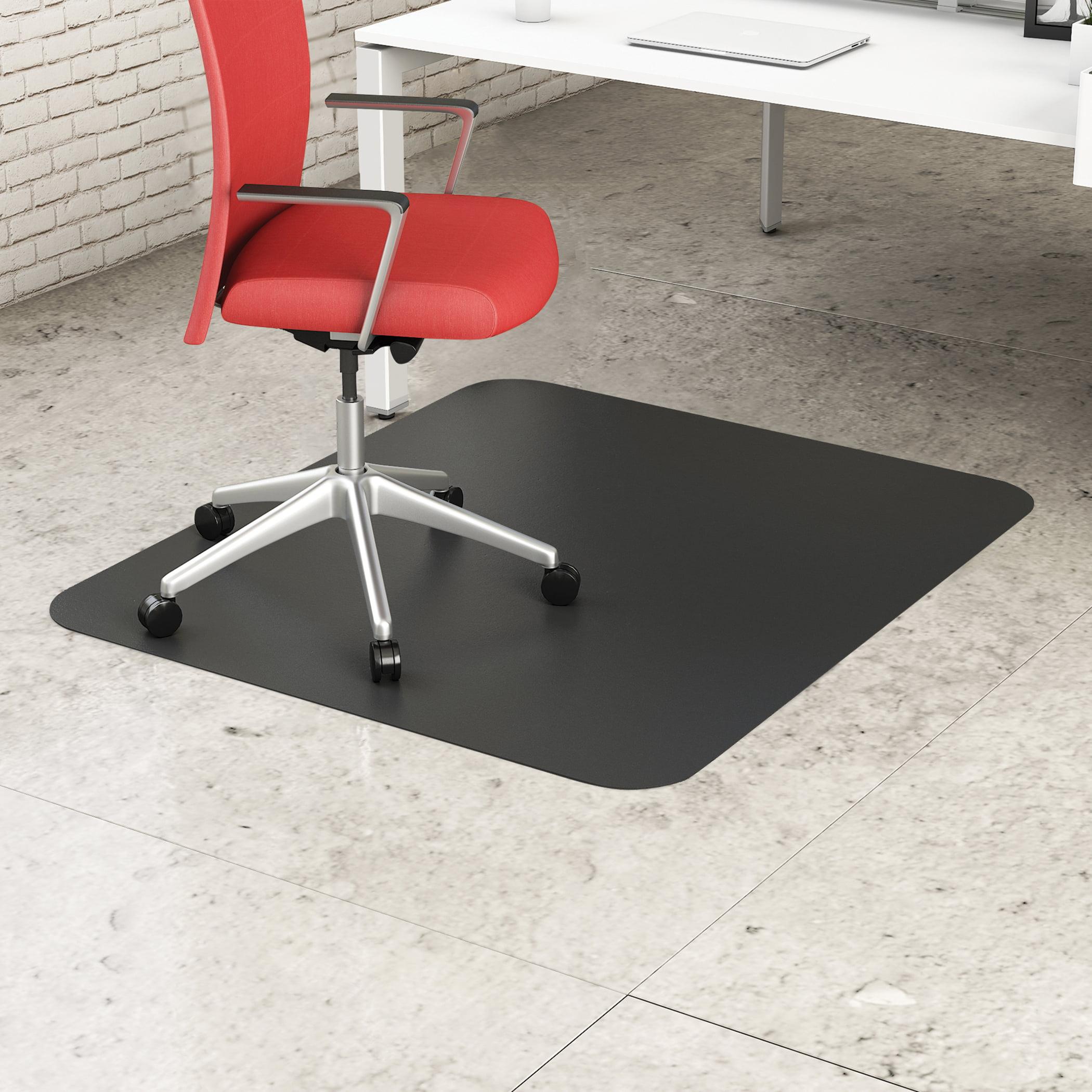 "CM21242BLK Office reception home carpet floor protector Economic chair mat Straight Edge 45"" x 53"" Black Rectangle-Hard Floor Thickness Mat"