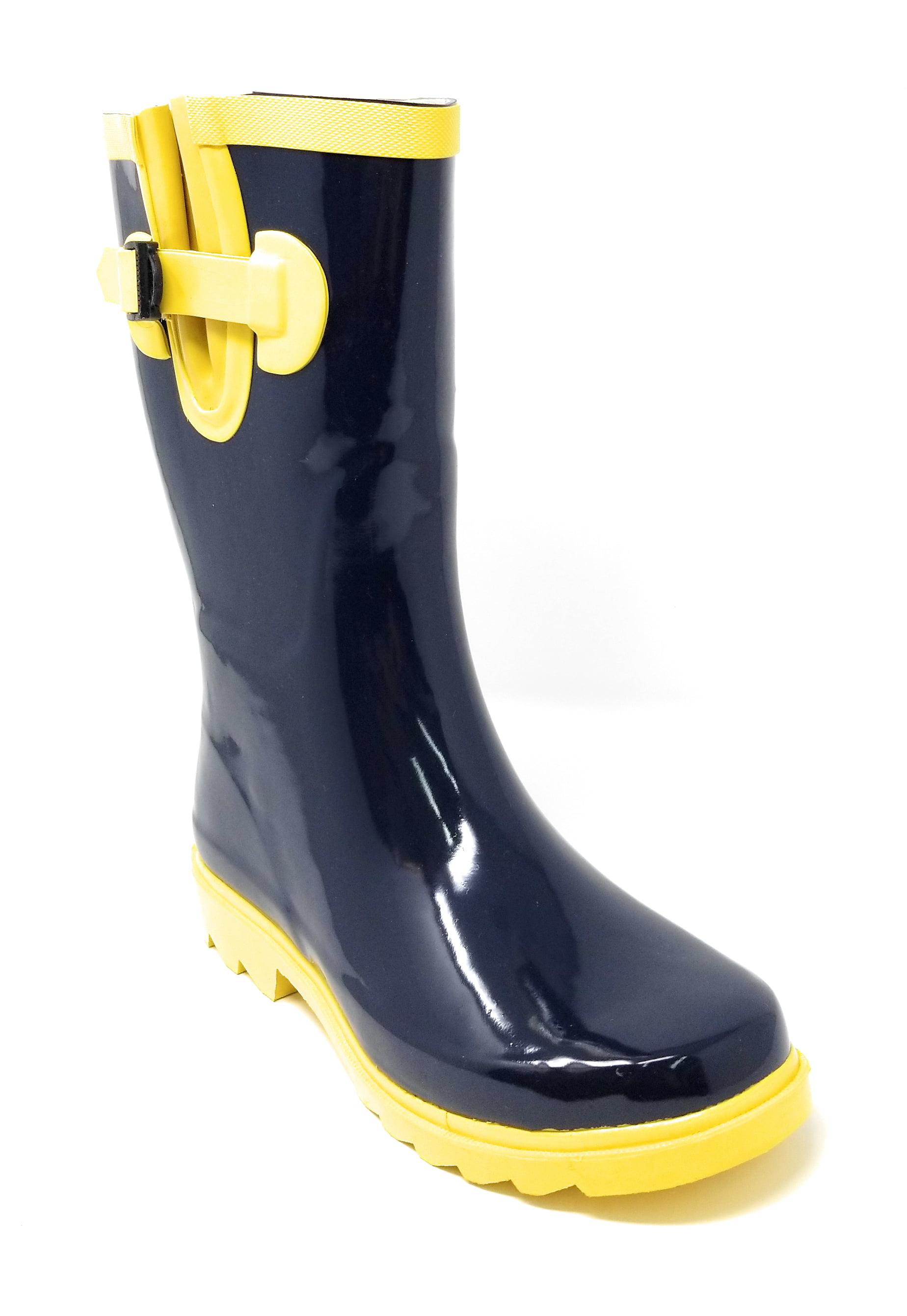 "Women Classic Mid-Calf 11"" Two-Tone Navy & Yellow Wellies Waterproof Rubber Rain Boots Wellies Yellow 70b03f"