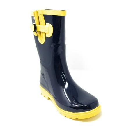"Women Classic Mid-Calf 11"" Two-Tone Navy & Yellow Waterproof Rubber Rain Boots Wellies"