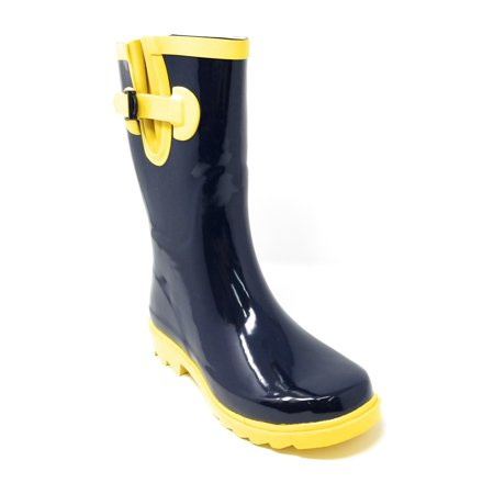 "Women Classic Mid-Calf 11"" Two-Tone Navy & Yellow Waterproof Rubber Rain Boots Wellies"
