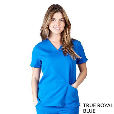 Ultra Soft -FREE SHIPPING Womens Junior Fit 2 Pocket Cross Over Tunic Scrub (2 Pocket Scrub Top)