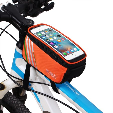 Redcolourful Bicycle Top Tube Phone Bag For 4 8  Screen Size  Bike Frame Strap Attachment Mount Orange