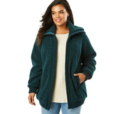 - Plus Size Fleece Bomber Coat