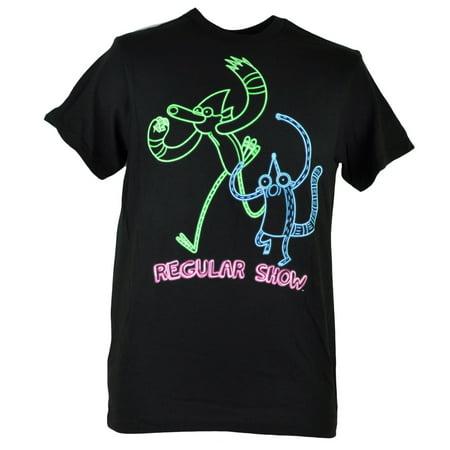 2ae6b3b70e7b Cartoon Network - Regular Show Outline Neon Glow Mordecai Rigby Tshirt Tee  Large - Walmart.com