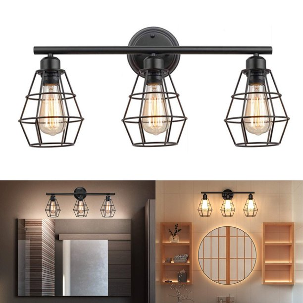 Industrial Bathroom Vanity Light 3 Lights Vintage Metal Cage Wall Sconce Rustic Farmhouse Wall Light Fixture Vintage Porch Wall Lamp For Mirror Cabinets Kitchen Living Room Workshop Walmart Com Walmart Com
